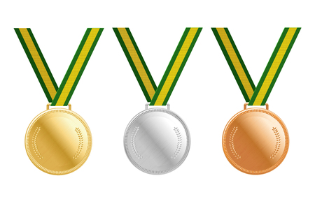 accomplishments: Gold, silver and bronze medals on green ribbons with shiny metallic surfaces