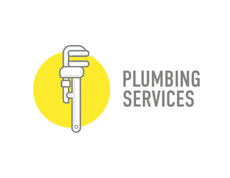 plumbers: Plumbing repair wrench line flat icon. concept for plumbers
