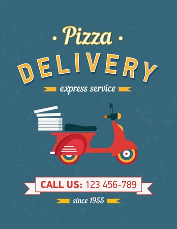 moto: Vintage pizza delivery poster with old typography and red moto bike