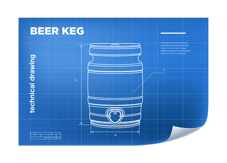 keg: Technical wireframe Illustration with beer keg drawing on the blueprint.