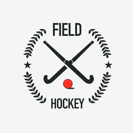 Field hockey team sport club badge with two hockey sticks and ball Vectores