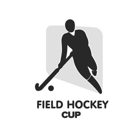 field hockey: Field hockey cup sport badge with man silhouette and stick Illustration
