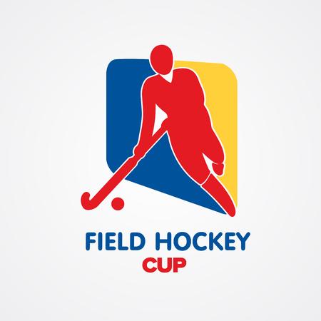 hockey sobre cesped: El hockey sobre hierba insignia taza de deporte con la silueta del hombre y palo Vectores