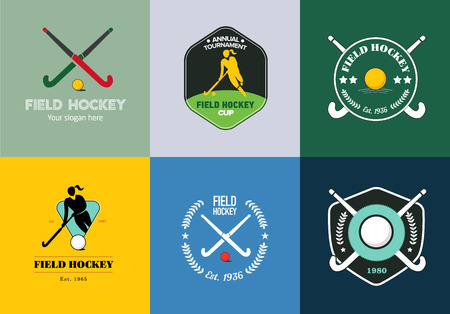 Field hockey sport badges with woman silhouette, stick and hockey ball
