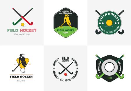 hockey sobre cesped: establece el hockey sobre hierba. el deporte insignias del vector con la silueta de mujer, palo y pelota de hockey