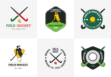 field hockey: Field hockey set. Vector sport badges with woman silhouette, stick and hockey ball