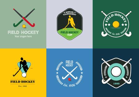 hockey sobre cesped: Conjunto de la insignia hockey sobre hierba. el deporte insignias del vector con la silueta del hombre, palo y pelota de hockey.