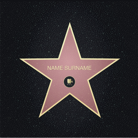 famous actor: Fame star with place for name.Top view