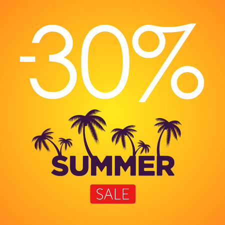 lowest: Summer Sale orange banner. Palm silhouette and text on orange background. Big discount.