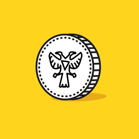 monedas antiguas: Águila de dos cabezas antiguas en un revés de la moneda. Estilo dibujado a mano. Ilustración vectorial