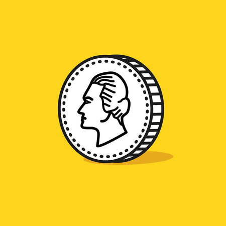 reverse: Antique portrait on a reverse of coin. Hand drawn style. Vector illustration Illustration