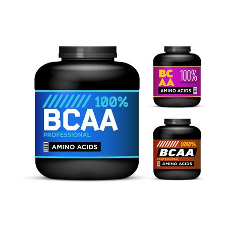 acids: Sport Nutrition Containers. Branched-Chain Amino Acids set. Black cans collection with BCAA. Jar label on white background. Vector product packaging Illustration