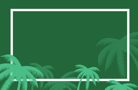 palm wreath: Vector tropical palm leaf border. Summer Palm tree leaves around a border. Vector background for text. Banner elements