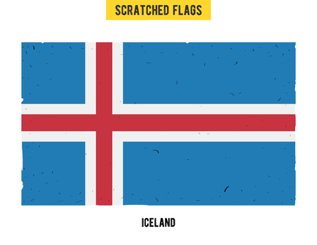 flagged: Icelandic grunge flag with little scratches on surface. A hand drawn scratched flag of Iceland with a easy grunge texture. Vector modern flat design. Illustration