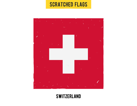flagged: Swiss grunge flag with little scratches on surface. A hand drawn scratched flag of Swizerland with a easy grunge texture. Vector modern flat design