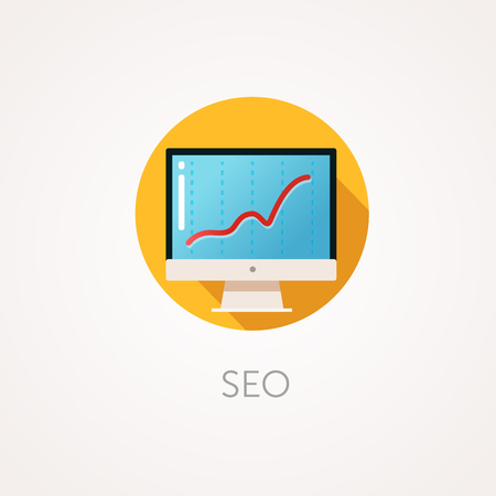 metrics: SEO result Icon. Flat design style with long shadow. Monitoring, Business promotion on Internet, Search Engine Optimization icon. Modern monitor with SEO metrics. High results. App icon Illustration