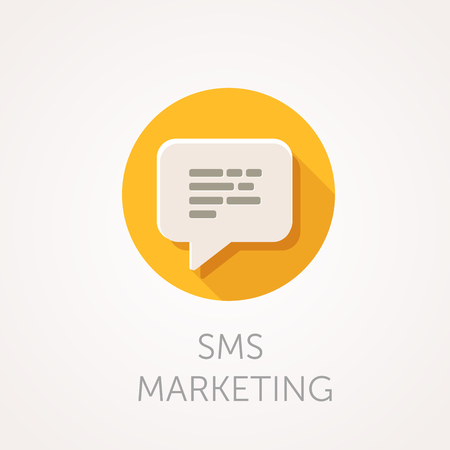 sms: SMS marketing Icon. Flat design style with long shadow. Mobile marketing, sms delivery, message or e-mail icon. White speech bubble with text. App icon Illustration