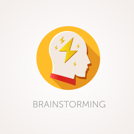 Brain Storming Icon. Flat design style with long shadow. Creative idea, thinking or brain storm icon. Man head with flash. App icon Illustration