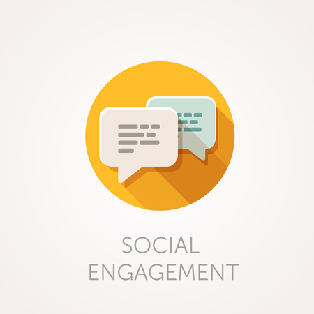 chat icon: Social Engagement Icon. Flat design style with long shadow. Message, sms or chat icon. White bubbles with text. App icon