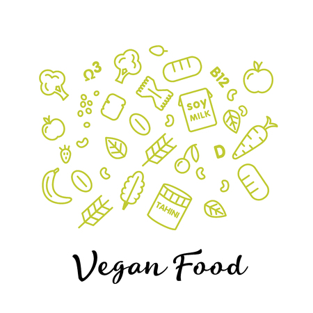 inforgaphic: set of the vegan food icons. Vegetables and fruits. Thin line icons. Hand drawn typography
