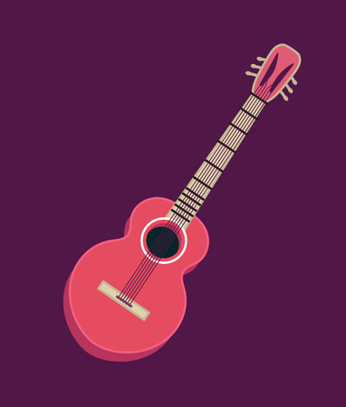 Classical acoustic guitar. Isolated silhouette classic guitar. Musical string instrument. Vector illustration in flat style. Illustration