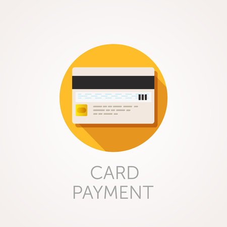 reverse: Vector Credit Cards Icon. Reverse side of the bank card with magnetic stripe and CVC code. Card payment illustration. Flat style design
