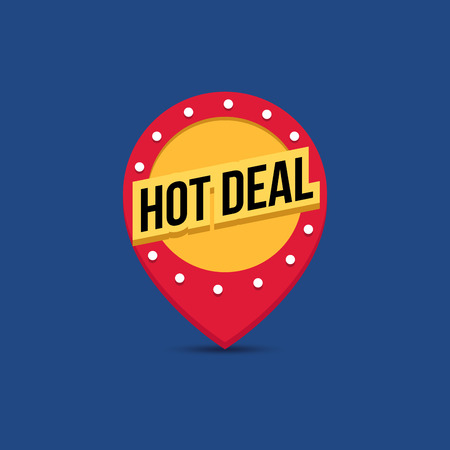 hot deal: Vector light frame. Retro billboard. Red and yellow advertising sign. Hot deal. Flat design. Sale and discount, business banner
