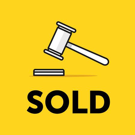 knocking: Auction hammer icon. Thin line illustration. Flat style design