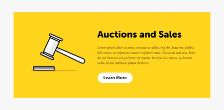 auctioning: Auction hammer illustration. Announcement about new bids. Web banner. Flat style design