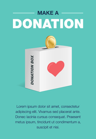 Charity and donation poster set. Flat design. For background and invitation card. Brochure layout template in A4 size. Vector illustration of the donation box for coins Illustration