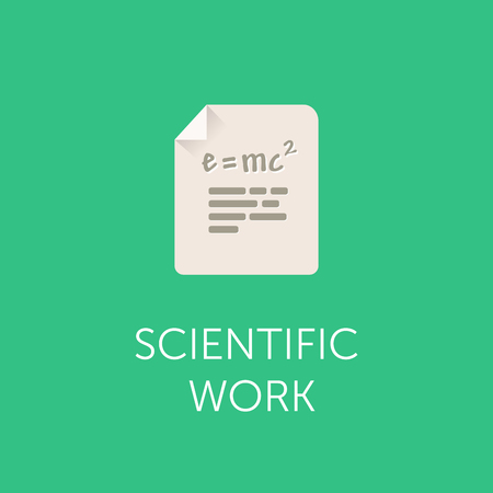 relativity: Illustration of a document vector icon with the Theory of Relativity formula. Flat design