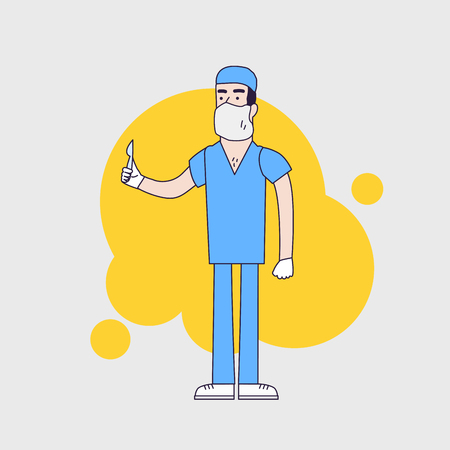 surgeon mask: Vector character of surgeon in medical uniform. Doctor in professional clothes,mask and hat. Surgeon holds scalpel. Flat line style design