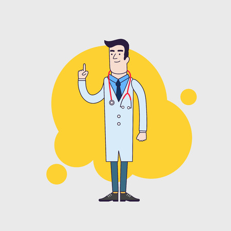 stethoscope boy: Vector character of happy doctor in medical uniform. Physician in professional clothes. Flat line style design