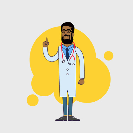 Vector character of happy black doctor in medical uniform. Physician in professional clothes. Flat line style design