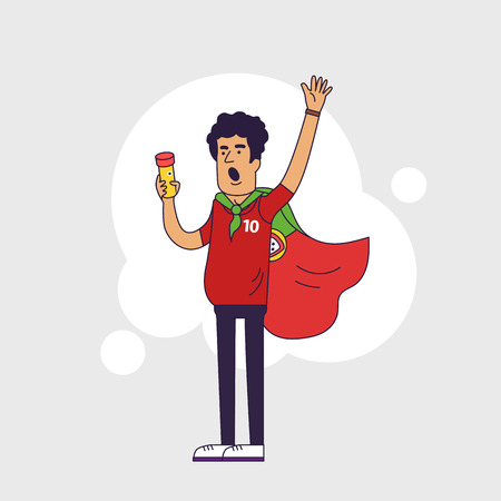 sports fan: Fan of Portugal national football team, sports. Character with flag in the national colors. Flat line style design