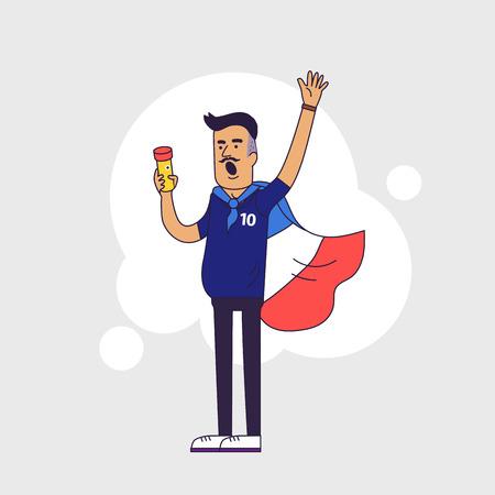 istruzione: Fan di squadra nazionale francese di calcio, sport. Carattere con la bandiera con i colori nazionali. design di stile linea piatta Vettoriali