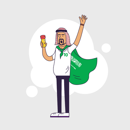 Fan of Saudi Arabia national football team, sports. Character with flag in the national colors. Flat line style design Illustration