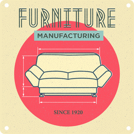 apartment suite: vintage advertising. Furniture manufacturing. Sofa in retro style Illustration