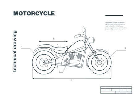 delineation: Technical wireframe Illustration with motorbike drawing on the white background.