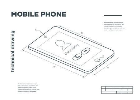 delineation: Technical Illustration with mobile phone drawing on the white background.