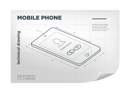 delineation: Technical Illustration with mobile phone drawing on the white blueprint Illustration