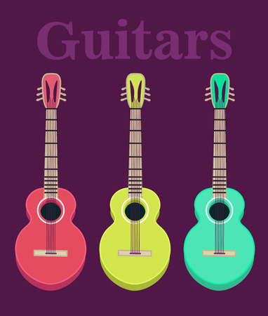 headstock: set of a classical acoustic guitars. Isolated silhouette classic guitars. Musical string instruments.