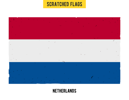 flagged: Dutch grunge flag with little scratches on surface. A hand drawn scratched flag of Netherlands with a easy grunge texture. Vector modern flat design. Illustration