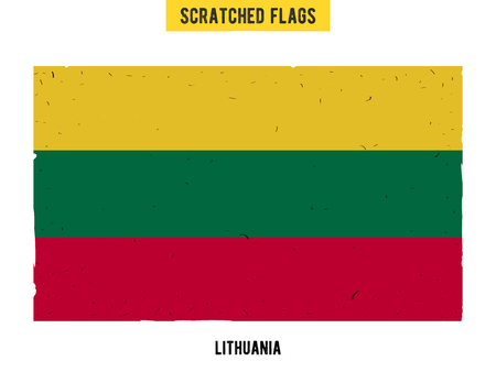 flagged: Lithuanian grunge flag with little scratches on surface. A hand drawn scratched flag of Lithuania with a easy grunge texture. Vector modern flat design.