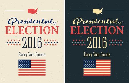 suffrage: Presidential Election 2016 Posters set. Vintage style design. Vertical format
