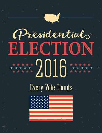suffrage: Presidential Election 2016 Posters. Vintage style design. Vertical format Illustration