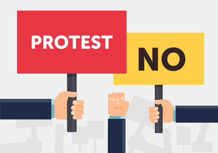 political rally: Hand holding protest sign flat illustration. Protest, demonstration, riot, political rally concept. Flat design. Vector illustration.