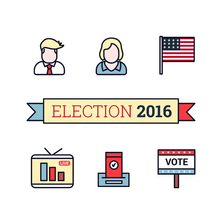 civic: Thin line art icons set. American election 2016. US President, flag, live translation, vote sign and ballot. Vintage flat color style. Vector illustration isolated on white