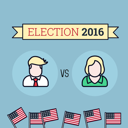 candidates: American election 2016. Two candidates. Flat style illustration