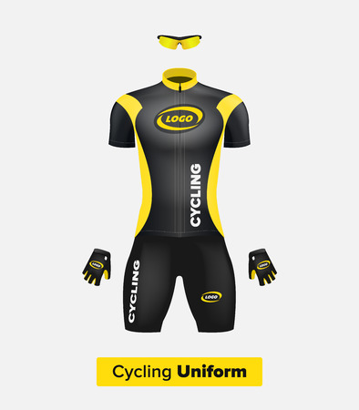 Realistic vector cycling uniform template. Black and yellow. Branding mockup. Bike or Bicycle clothing and equipment. Special kit - short sleeve jersey, gloves and sunglasses. Front view. Ilustração